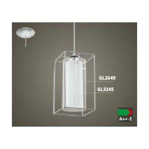 ПЕНДЕЛ 1-ца LONCINO 1 хром/бяло+прозрачно стъкло
