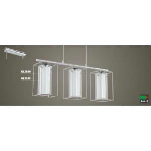 ПЕНДЕЛ 3-ка LONCINO 1 хром/бяло+прозрачно стъкло