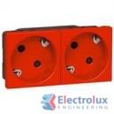 Блок контакт шуко 2X2P+E под ъгъл 45° с автомат. клеми PRMosaic